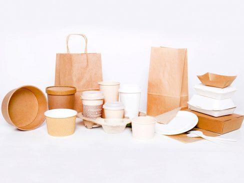 Бумажная и картонная упаковка для еды и фаст-фуда, стаканы, тарелки, приборы, контейнеры, лотки, ланч-боксы,  супницы и миски, упаковка из древесины, бумажные пакеты на вынос, барные аксессуары, упаковка для мороженого и т.д.