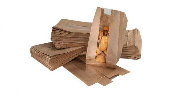 Пакет бумажный с V-образным (плоским) дном и окном